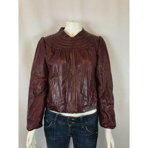 Doma Womens Leather Jacket Size Large Maroon Moto